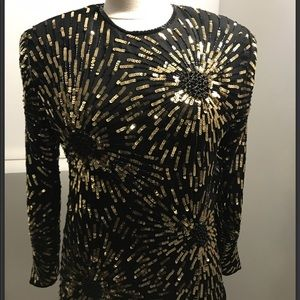 Vintage Black and Gold Sequin Blouse